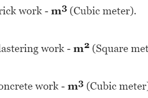 Unit of Measurement of Common Items of Civil Engineering Work
